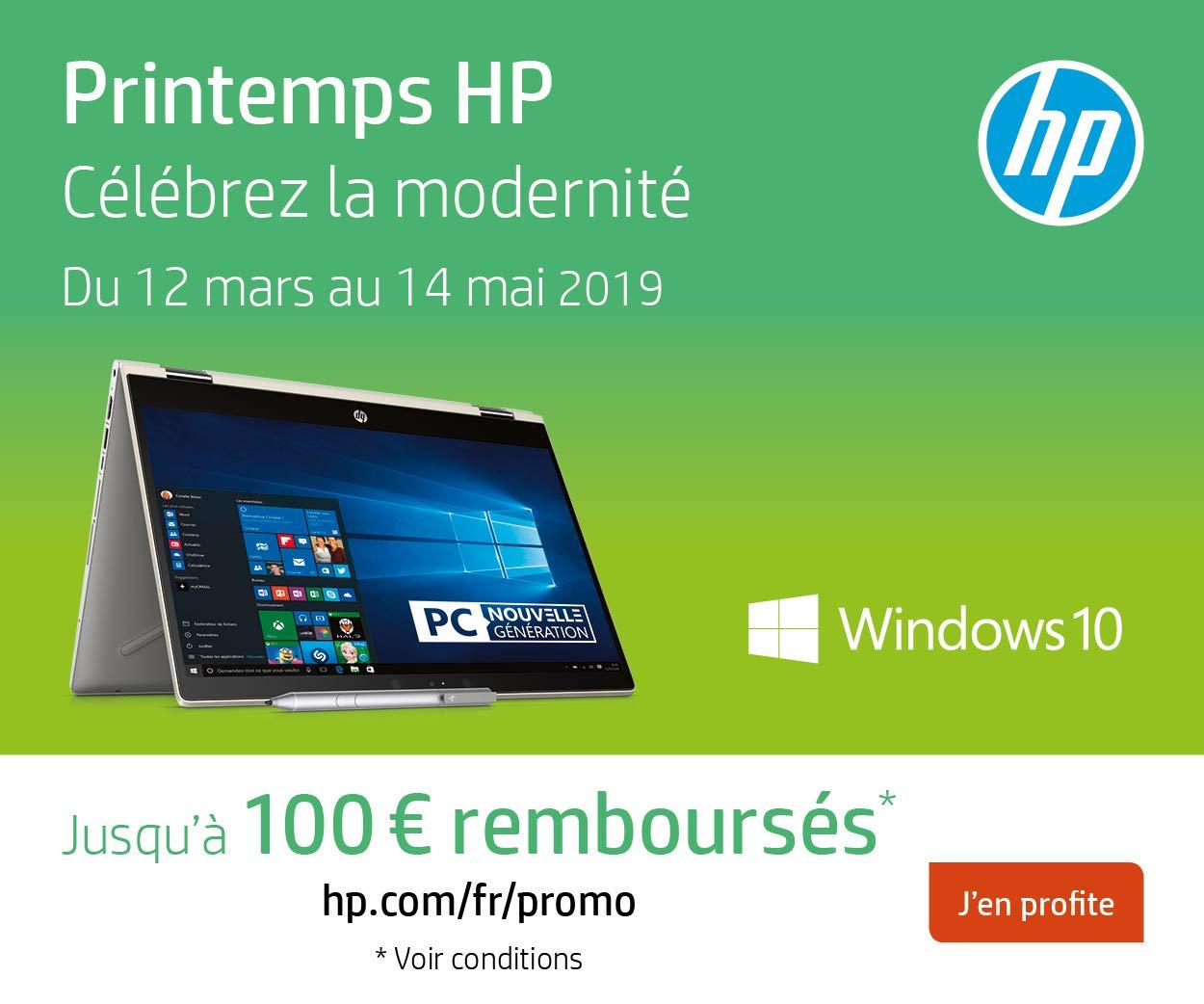 Du 12 mars au 14 mai 2019, HP rembourse jusqu'à 50€ pour l'achat d'un PC HP ET d'un accessoire ou moniteur HP éligibles