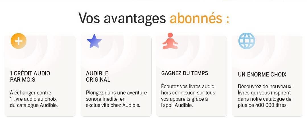 Vos avantages abonnés: 1 crédit audo par monis, Audible Orignal, Gagnez Du Temps, Un Énorme Choix