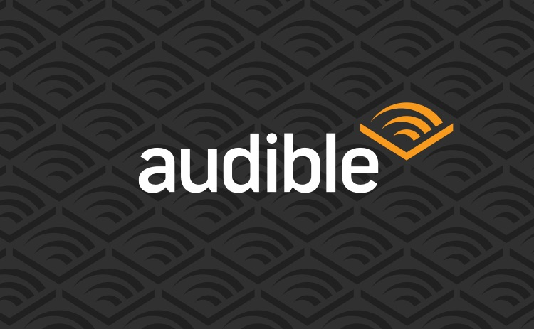 Logo Audible fond noir chevron