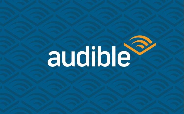 Logo Audible fond bleu chevron