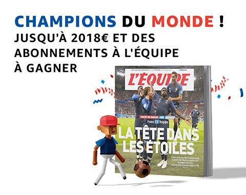 Bravo aux champions : jusqu'à 2018€ à gagner et des abonnements à l'Equipe