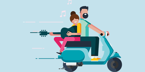 Characters riding a scooter singing music