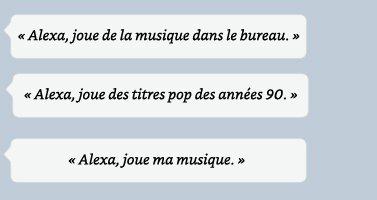 Alexa, joue de la musique dans le bureau. | Alexa, joue des titres pop des années 90.
