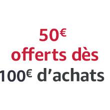 Profitez de la promotion : 50€ de réduction dès 100€ d'achats