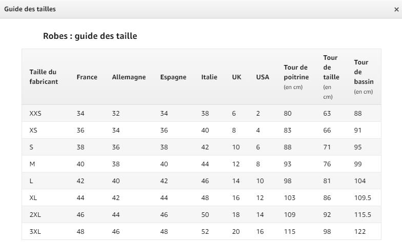 Tableaux Des Tailles Propres Agrave La Marque Amazon Seller Central