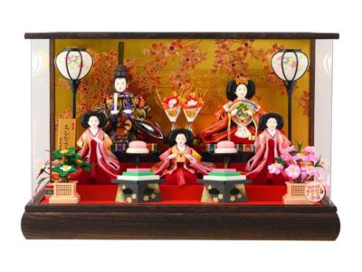 人形屋ホンポ 雛人形 ケース飾り  五人飾り 桜 本焼桐 アクリルケース オルゴール付