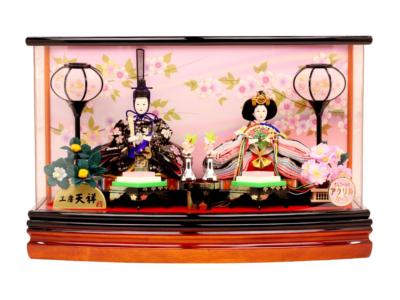 人形工房天祥 雛人形 ケース飾り 親王飾り 衣装着「芥子親王雛 薄桃さくら」