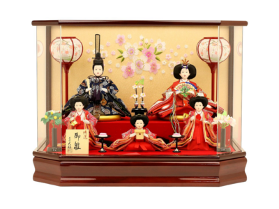 人形工房天祥 雛人形 ケース飾り 五人飾り 衣装着「芥子親王雛 三人官女付」
