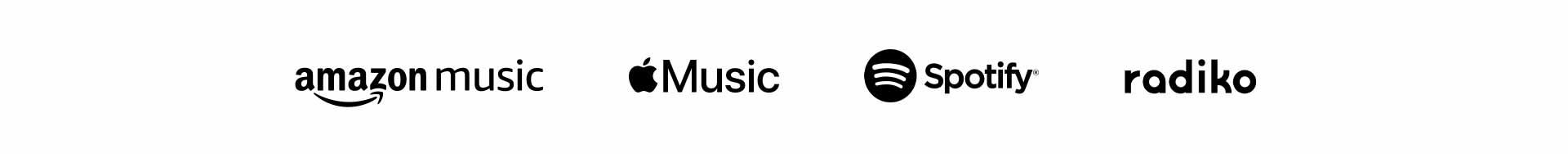 Amazon music, Apple Music, TuneIn, Spotify, Dhits, Utapass
