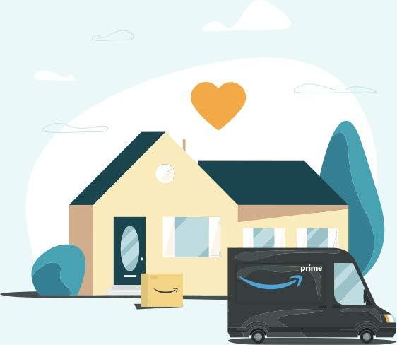 Amazonの配達バンが前にある家のイラスト