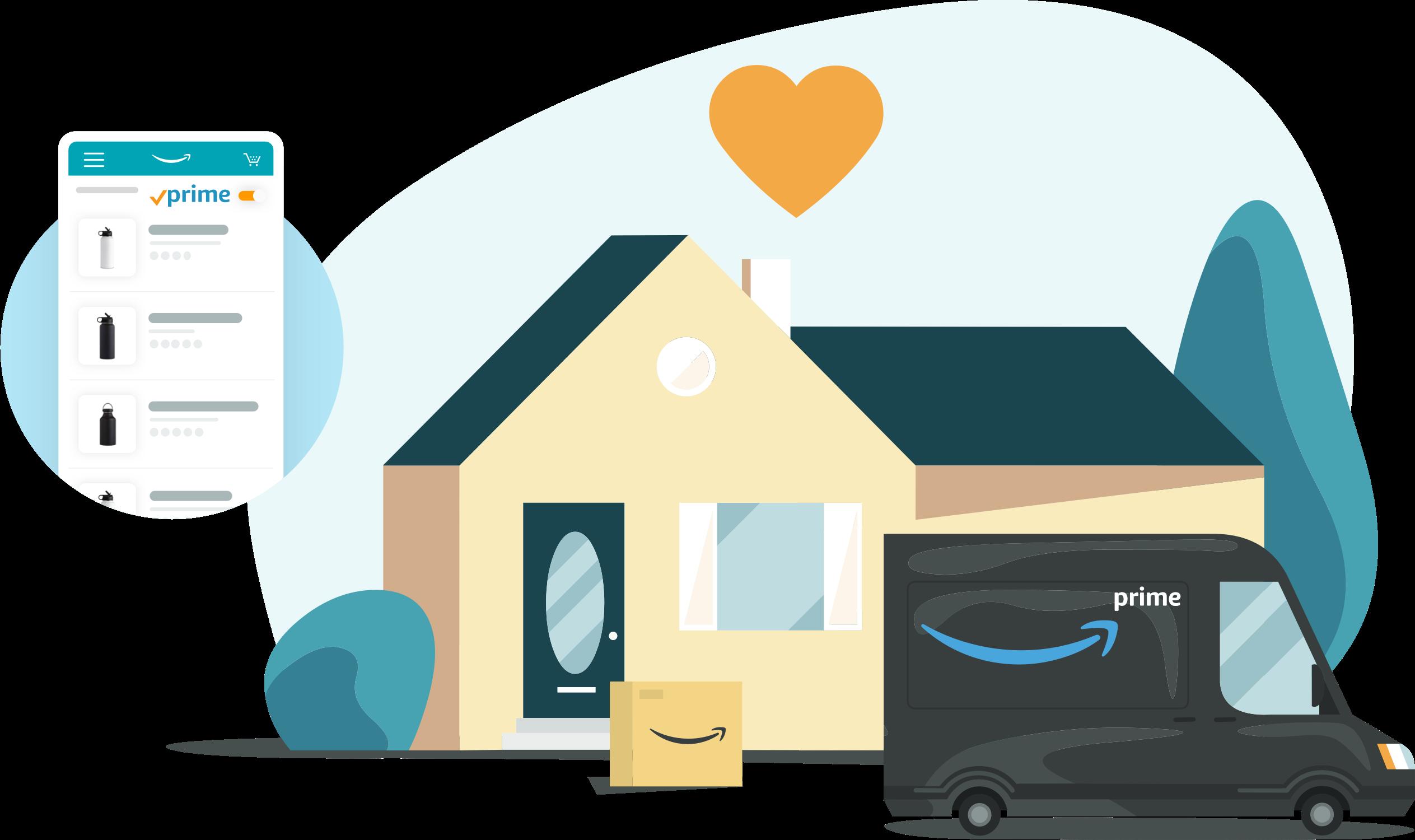 郊外の自宅に荷物を配達するAmazon Primeトラックのイラスト