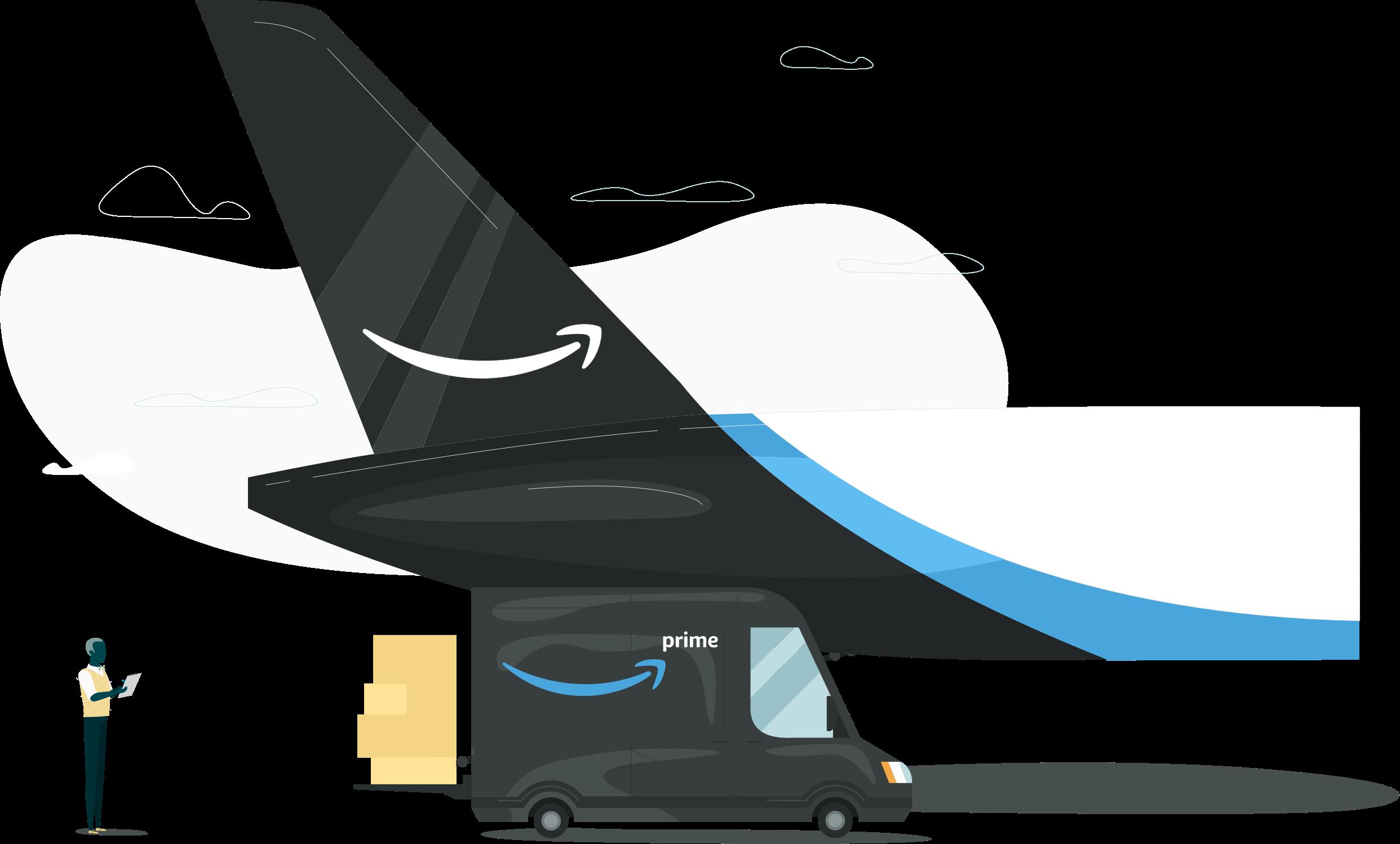Prime Airの飛行機と配達トラックの横に立っている男のイラスト