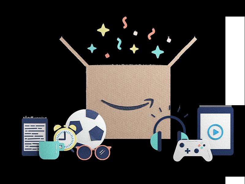 Amazonボックスに入っている様々な商品のイラスト