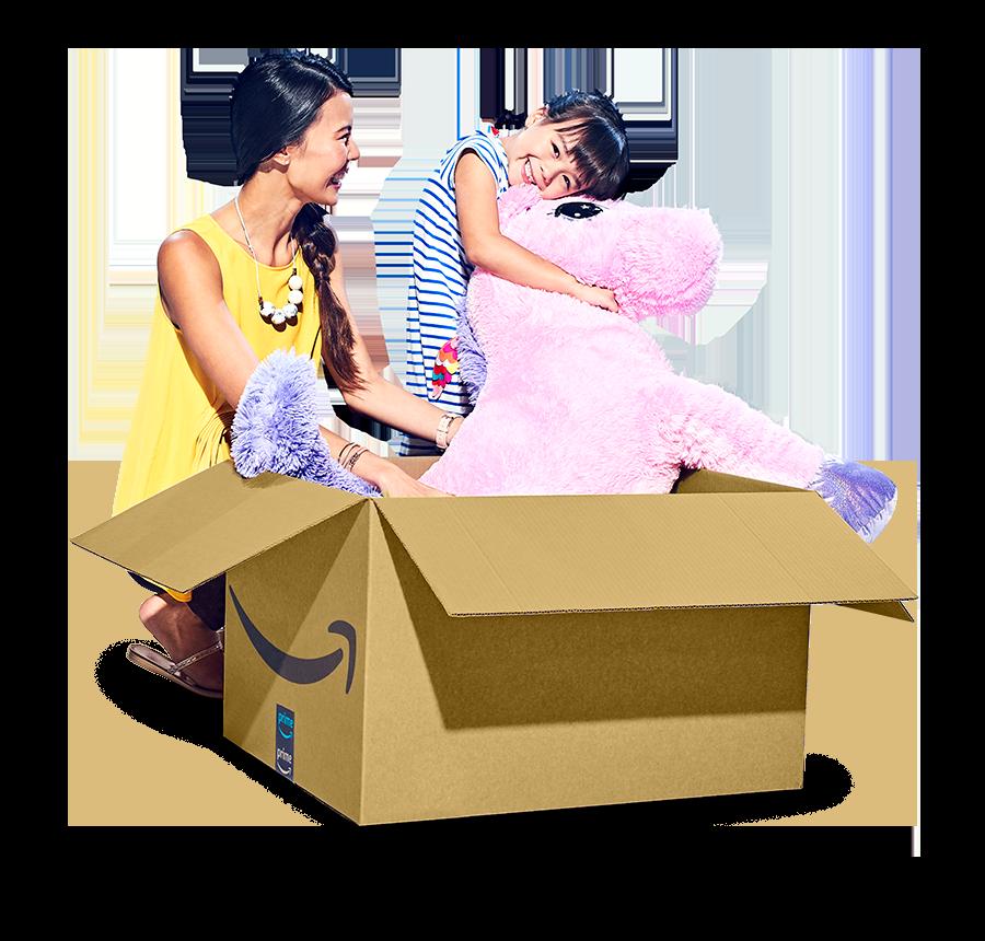大きなピンクの馬のぬいぐるみが入ったAmazonの荷物を開封するAmazonのお客様