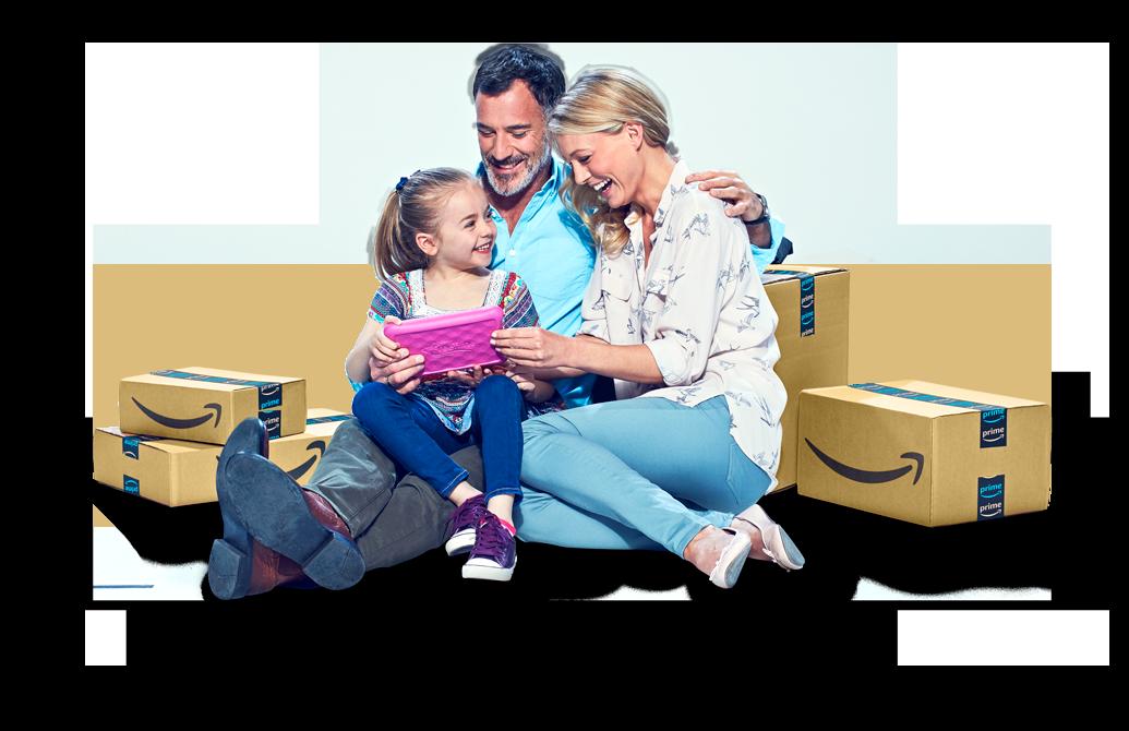 Amazonフルフィルメントセンターから受け取った商品を喜んで持っている、Amazonの購入者の家族