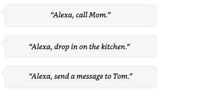 Alexa, call Dad | Alexa, drop in on the kitchen. | Alexa, send a message to Hayley.
