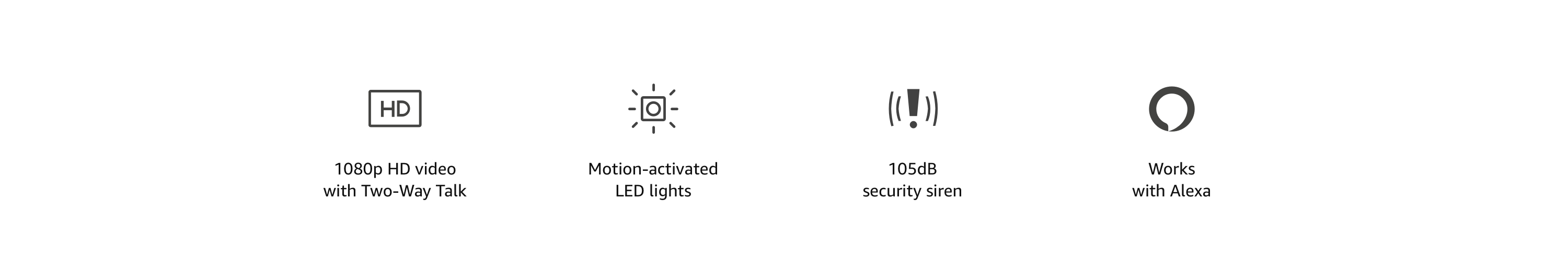 1080p HD video with Two-Way Talk, Motion-activated LED lights, 105dB security siren, and Works with Alexa