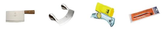 禁售高风险的刀刃商品 例如:切肉刀、半月形刀、斯坦利刀、裁纸刀等