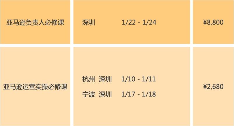 1月课程安排
