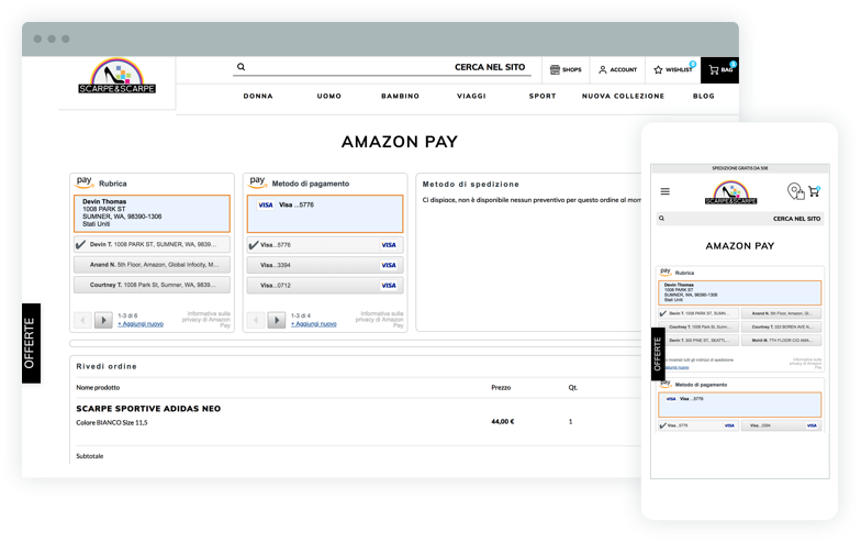 Acquistare online con Amazon Pay
