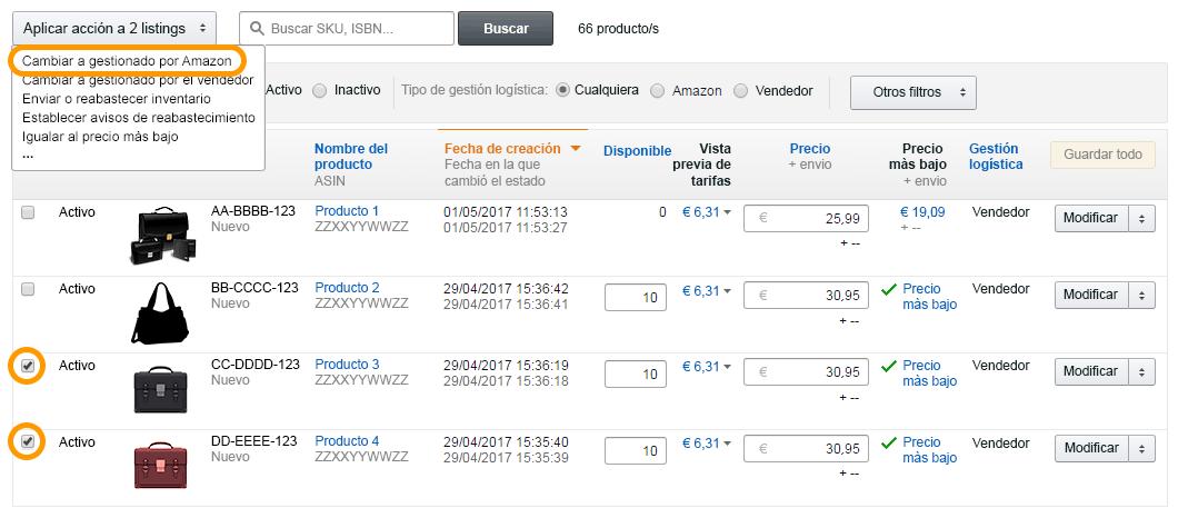 """Selecciona la opción """"Logística de Amazon"""""""