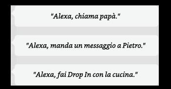 Alexa, chiama papà. | Alexa, manda un messaggio a Pietro. | Alexa, chiama la cucina con Drop In.