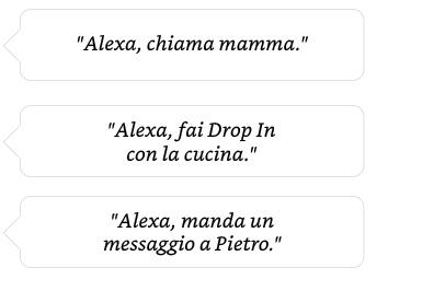 Alexa, chiama la mamma. | Alexa, chiama la cucina con Drop In.| Alexa, manda un messaggio a Pietro.