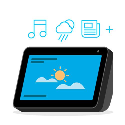 Chiedi ad Alexa di cercare un brano, mostrarti le previsioni del tempo, le ultime notizie e altro.