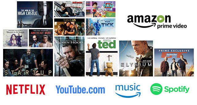 Amazon Prime Video, Netflix, YouTube