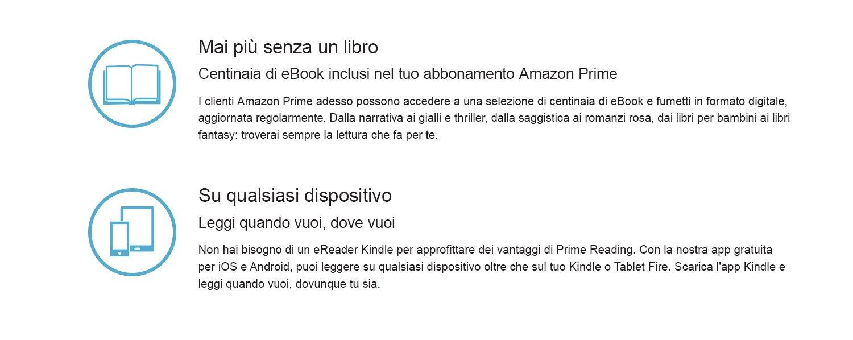 I clienti Amazon Prime adesso possono accedere a una selezione di centinaia di eBook e fumetti in formato digitale, aggiornata regolarmente. Dalla narrativa ai gialli e thriller, dalla saggistica ai romanzi rosa, dai libri per bambini ai libri fantasy: troverai sempre la lettura che fa per te.