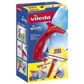 Vileda Windomatic Set Aspirador de ventanas y mopa de microfibras con spray, limpiacristales con cuello flexible y pulverizador con mopa, batería extra duradera, medidas 17.5 x 12 x 32 cm, color rojo: