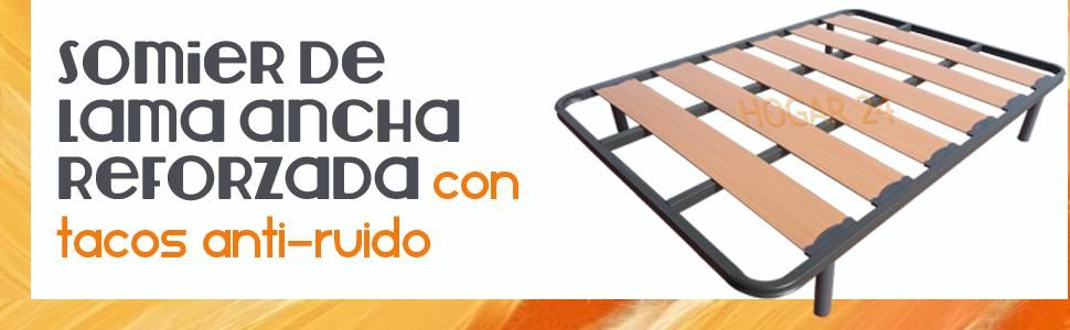 HOGAR24 Somier Somieres Lama Ancha Reforzada con Tacos Anti-Ruido y Patas cilíndricas, Tubo 40x30. Fabricación Nacional-80x180cm-PATAS 26CM