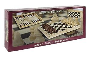 Aquamarine Games - Ajedrez, damas y backgammon en estuche