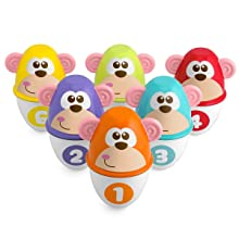 monkey strike; set; bolos; bebé; chicco; números; colores