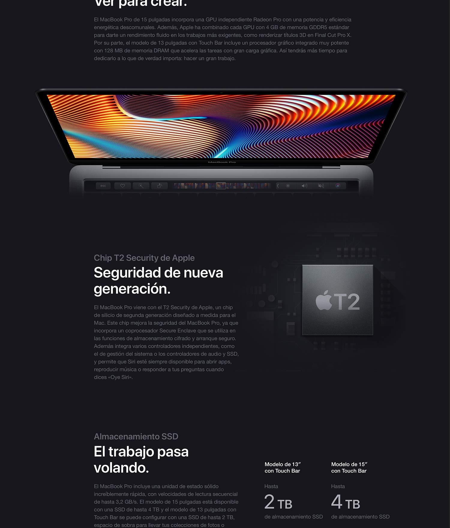 Apple MacBook Pro (de 15 pulgadas, Último Modelo, 16GB RAM, 512GB ...