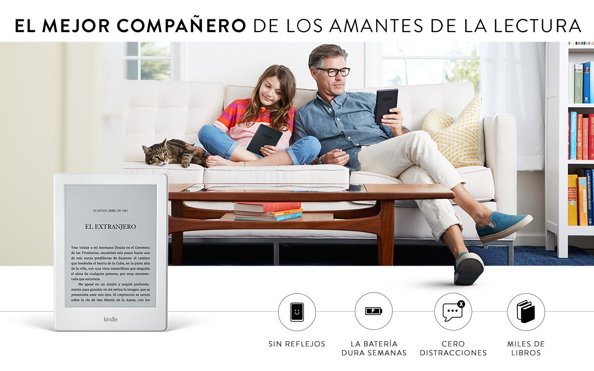 Kindle, pantalla táctil de 6 (15,2 cm), sin luz integrada, wifi ...