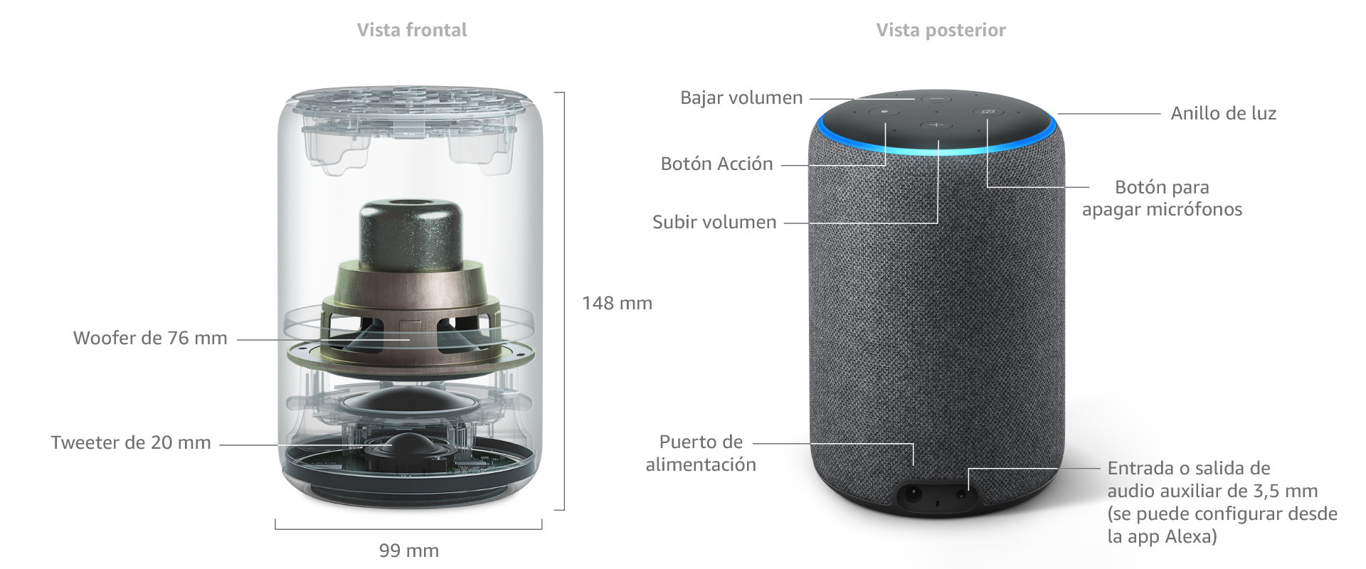 Amazon Echo (3.ª generación), tela de color gris claro + Philips ...