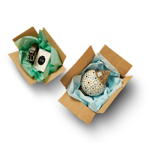 Products in boxes when you sell online