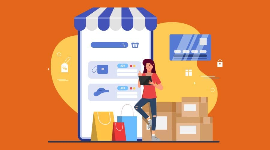 young person shopping illustration
