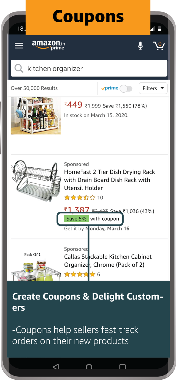 Discount Coupons offered on products on Amazon.in