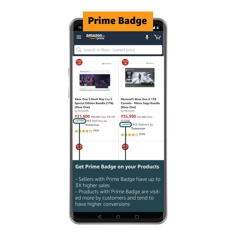 Product on Amazon.in with Prime Badge