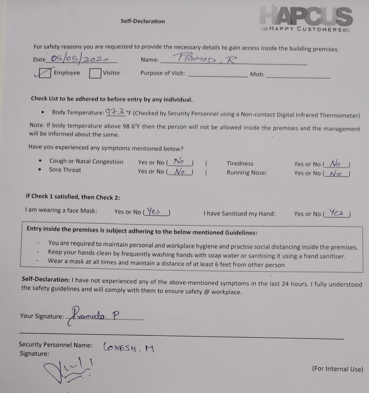Screening Process - Employee self-declaration form