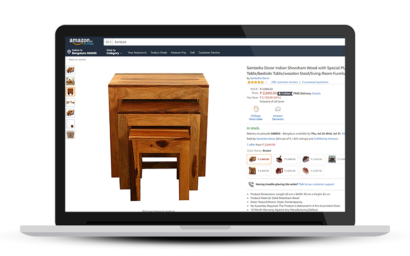 Sell wooden furniture online on Amazon.in