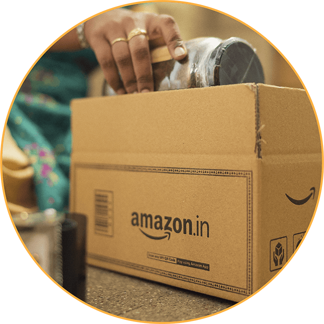 Amazon Seller putting product in box