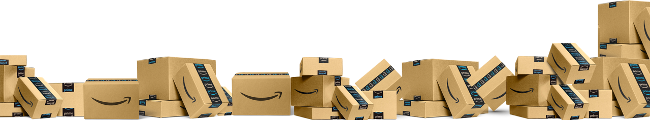 Row of Amazon Boxes