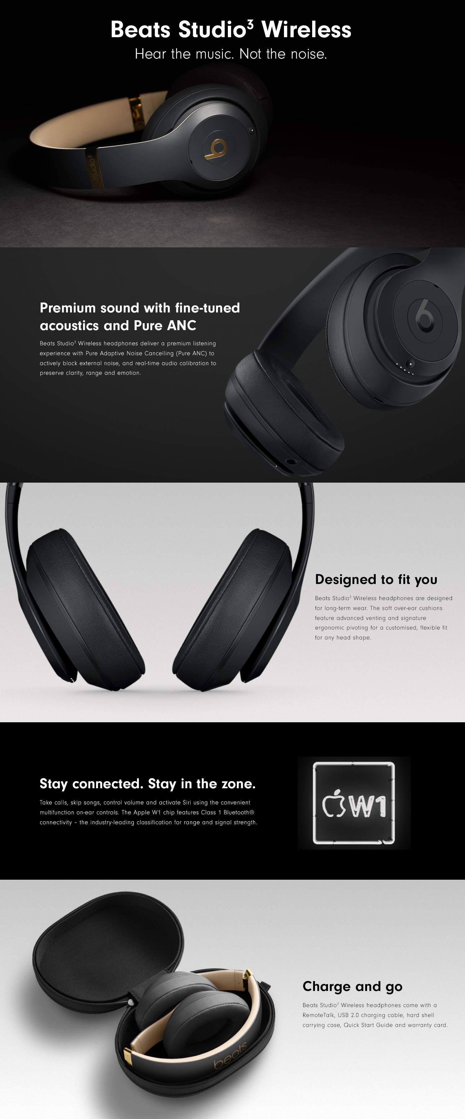 Beats By Dr Dre Mq562zm A Studio3 Wireless Over Ear Headphones Matte Black Amazon In