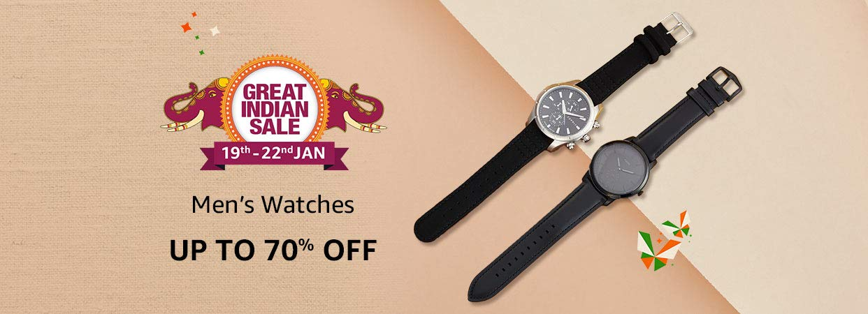 Upto 70% Off on Watches + 10% Instant Discount SBI Credit Cards