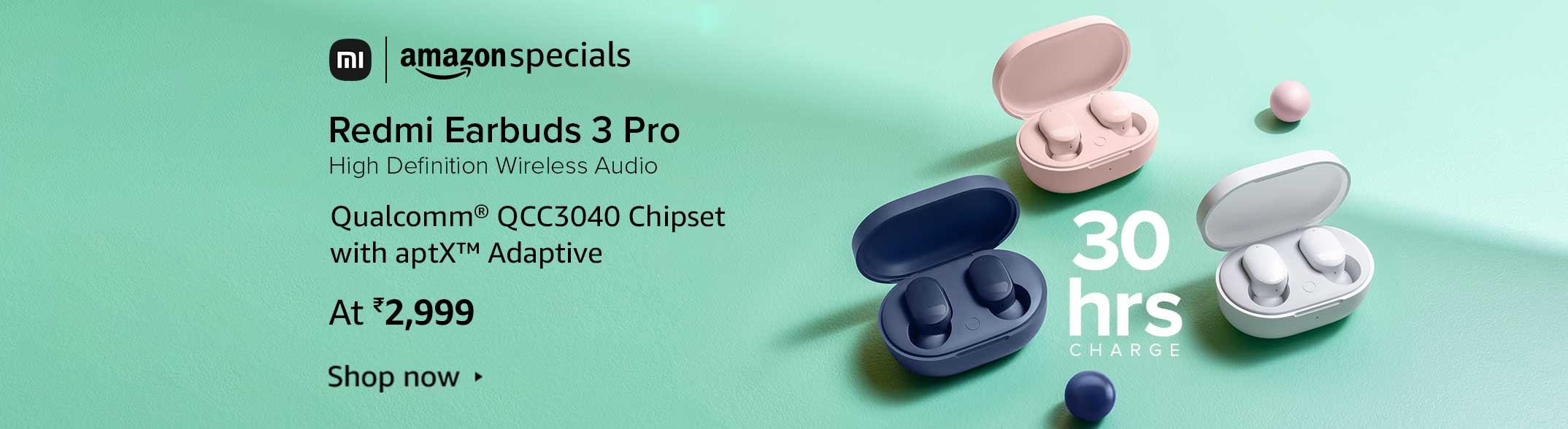 Redmi Earbuds 3 Pro, Blue, High Definition Wireless Audio with Qualcomm chipset, Dual Drivers, Up to 30 Hours Battery Life, IPX4 Splash & Sweat Proof