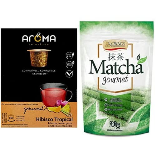 Cápsulas de Chá Hibisco Tropical Aroma Selezione, Compatível com Nespresso, Contém 10 Cápsulas