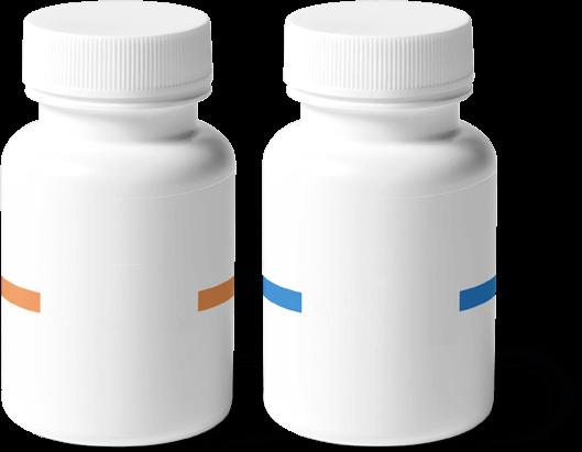Una imagen de dos botellas de vitaminas y suplementos